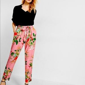 Express- Pink Tropical Belted Casual Pants
